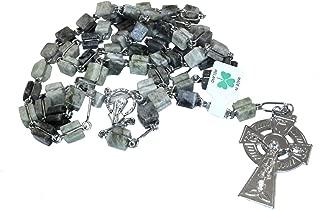 Connemara Marble Celtic Irish Cross Square Nickle Rosary Beads