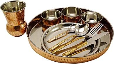مجموعة تقديم أدوات المطبخ الهندية التقليدية مجموعة أواني الطعام المصنوعة من النحاس الصلب العتيق