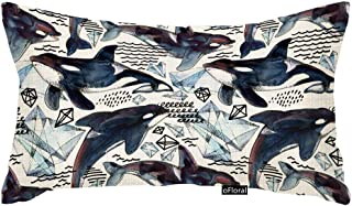 oFloral Killer Whale Cushion Cover Watercolor Arctic Ice Ocean Animal Sea Fish Wildlife Pillow Case Pillowcase for Sofa Chair Bedroom Living Room 12 X 20 Inch Cotton Linen Pillow Cover