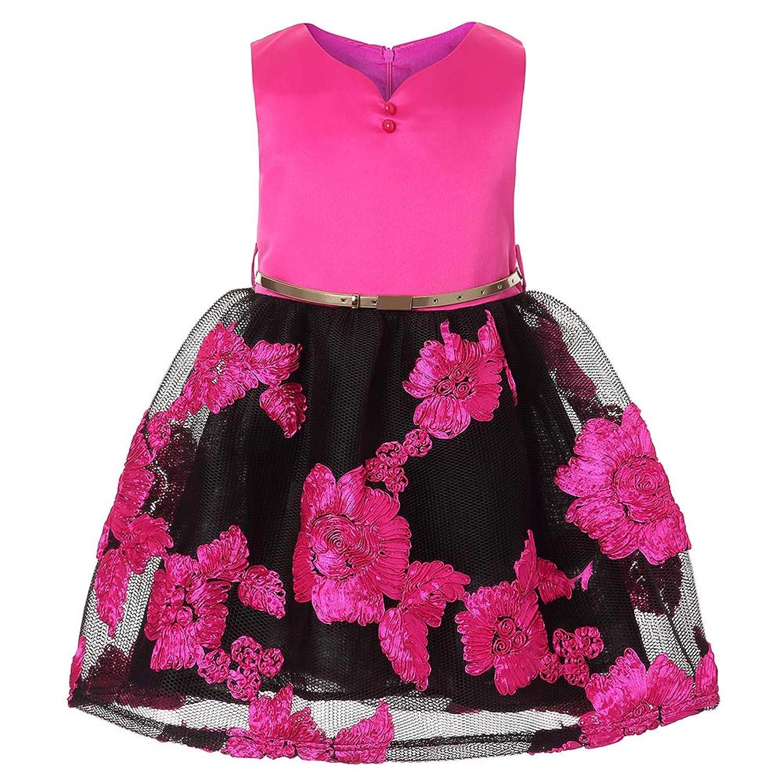 ガールズドレス 女の子ドレス ワンピース Vネック 入園式 結婚式 卒業式 お花柄 袖なし
