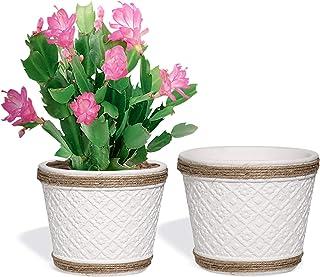 T4U 12cm 植木鉢 プランター セメント製 底穴付き 観葉植物鉢 多肉植物鉢 サボテン鉢 ハーブ鉢 花栽培適用 白 家庭 オフィス 飾り ギフト