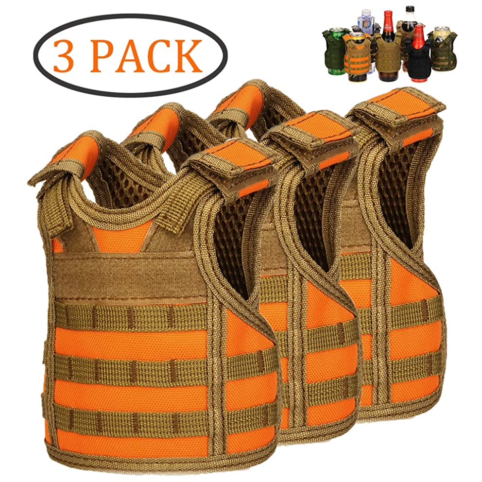 DSMY Bottle Vest Tactical Beverage Cooler Military Beer Mini Molle Vest Hunting Bottle Drink Adjustable Shoulder Straps