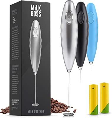Milk Boss (Batteries Included) Double Grip Milk Frother Handheld - Coffee Frother Electric Handheld Foam Maker - Frother For Coffee, Latte, Matcha & More - Electric Whisk (Stand Not Included) - Silver
