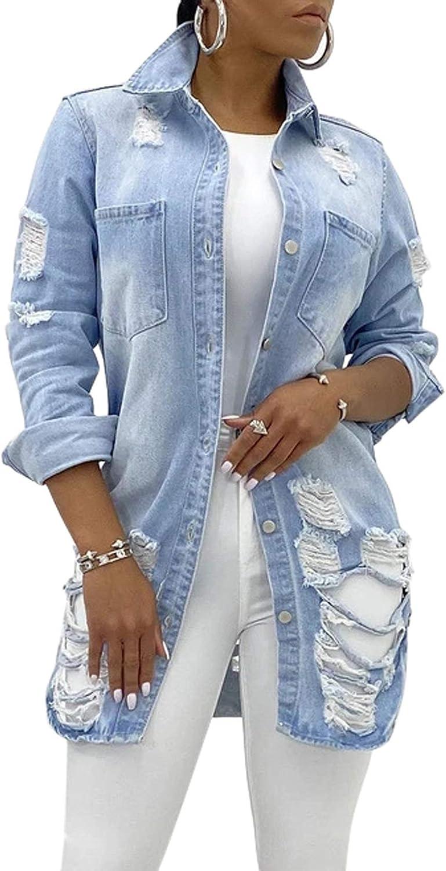 loveimgs Women's Fashion Streetwear Button Down Destroyed Holes Boyfriend Ripped Denim Shirt Jacket