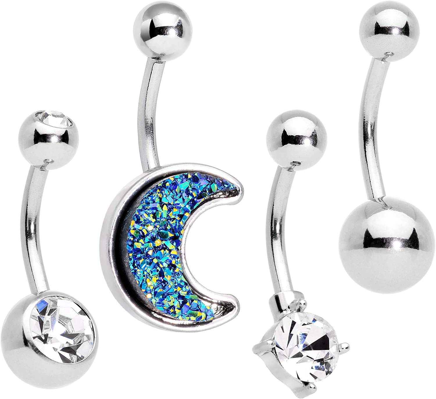 Body Candy 4PC 316L Steel Faceted Blue Moon Bonus Pack Belly Button Rings Navel Piercing Set of 4