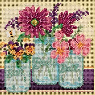 Cut Flowers Beaded Counted Cross Stitch Kit Mill Hill 2016 Buttons & Beads Spring MH141611