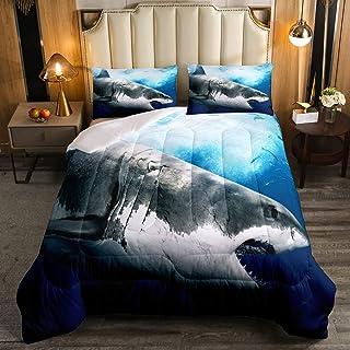 Kids Comforter Set for Boys Girls,3D Shark Fish Down Comforter 3 Piece Hawaiian Beach Theme Bedding Quilted Duvet Set Ocea...