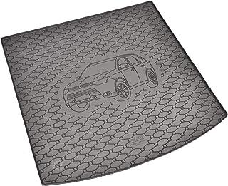 Passgenau Kofferraumwanne geeignet für Mitsubishi Outlander 5 Sitze ab 2014 ideal angepasst schwarz Kofferraummatte + Gurtschoner