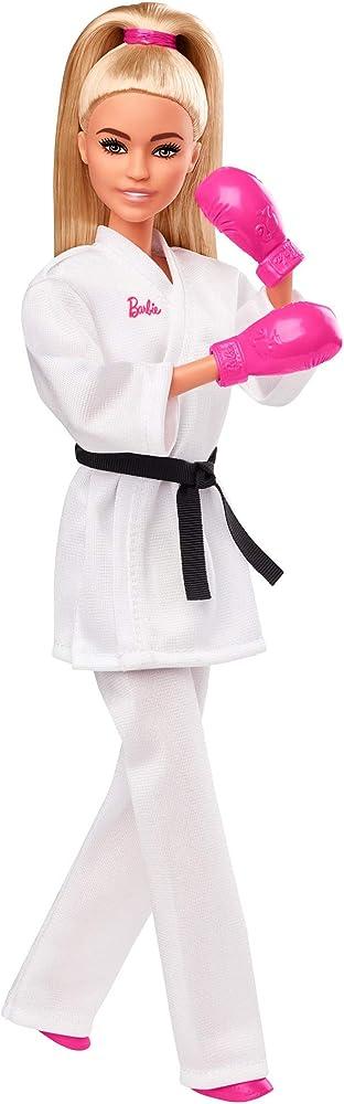 Barbie,carriere giochi olimpici tokyo 2020, bambola con kimono da karate e accessori GJL74