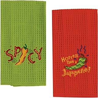 2 Mexican Food Themed Decorative Cotton Kitchen Towel Set   Embroidered Waffle Towels with Red and Green Chilli Pepper Print for Dish and Hand Drying   by Kay Dee Designs