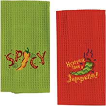 2 Mexican Food Themed Decorative Cotton Kitchen Towel Set | Embroidered Waffle Towels with Red and Green Chilli Pepper Print for Dish and Hand Drying | by Kay Dee Designs