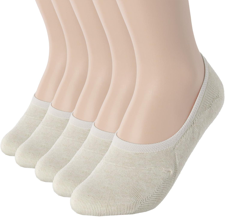 OSABASA Womens Casual NoShow 1, 3Pairs, 5Pairs Socks of Hidden Flat Boat Line BEIGE (SET5KWMS058)