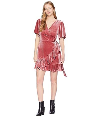 1.STATE Velvet Flutter Sleeve Wrap Front Dress (Forest Berry) Women