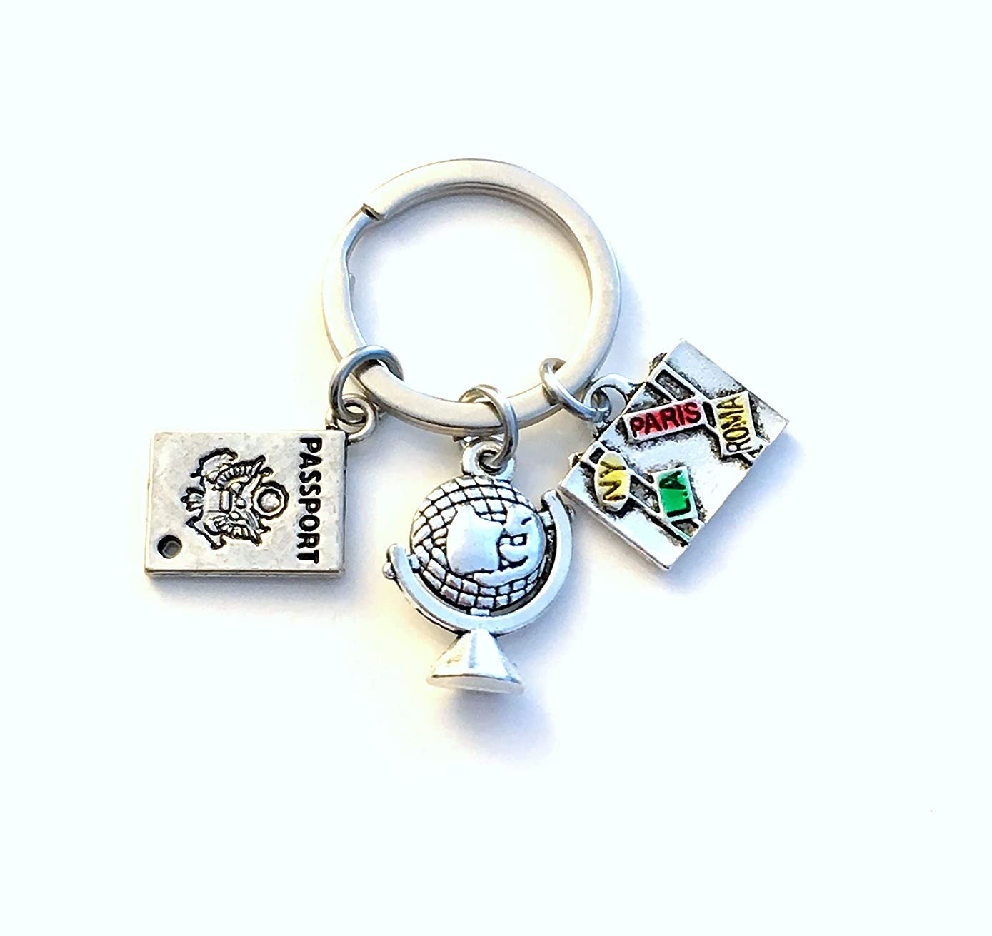 Travel Keychain, World Traveler Key Chain, Going away present for Women Men, Gift for Flight Attendant or Pilot Keyring, Suitcase, Globe, and Passport Charm, Best Friend BFF New License