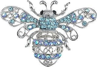 Silvery Tone Aqua Light Blue Crystal Rhinestone Queen Bee Pin Brooch Insect Bug