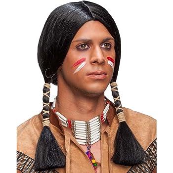 Amakando Postizo Carnaval Apache Peluca de Indio Negro Cabellera ...
