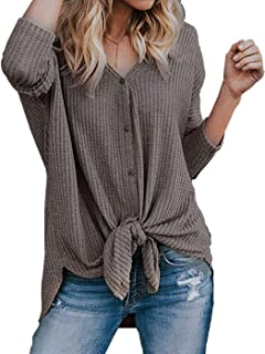 Womens Waffle Knit Tunic Blouse Front Tie Knot Henley Tops Button Down Knitting Cardigan Batwing Plain Shirts