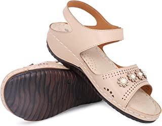 YAHE Women's PU Leather Doctor Sole Orthopedic Sandals Y-509