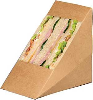 "PacknWood Kraft Triple Sandwich Wedge Box with Window, 4.8"" x 3.2"" x 4.8"", Brown (Case of 500)"