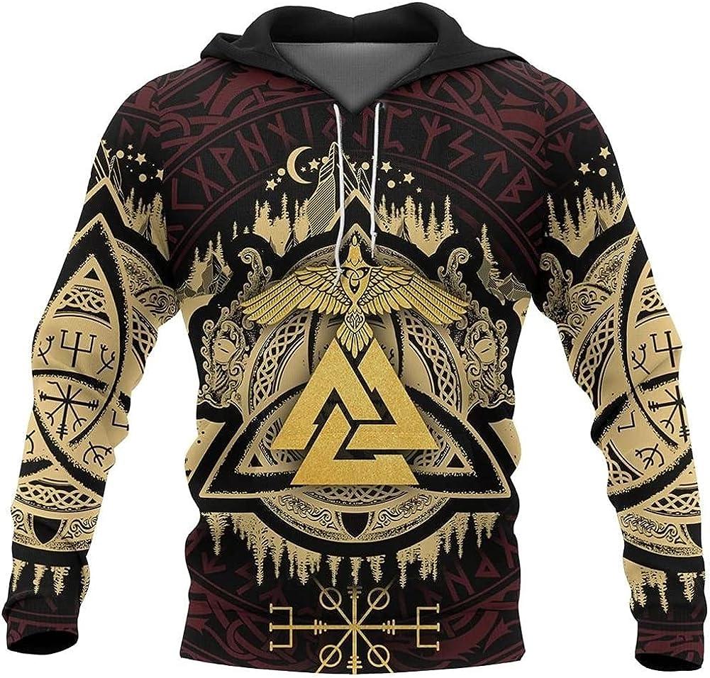 Viking Hoodie Valknut Raven Celtic Vegvisir 3D Printed Mens Up Hoodie Streetwear Unisex Casual Jacket Tracksuits