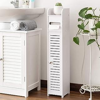 Toilet Roll Holder,Toilet Paper Roll Holder with Slim Shelf,Over Toilet Storage for Toilet Paper Bulk,Narrow Shelf for Bat...