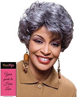 Elen Wig Color FS4/30 - Foxy Silver Wigs Short Collar Curly Shag Synthetic Soft Bang African American Women's Machine Wefted Lightweight Average Cap Bundle with MaxWigs Hairloss Booklet