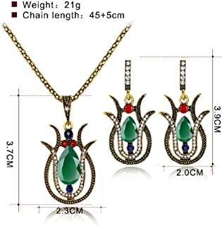 Vintage Gold Green Red Resin Rhinestone Necklace Earrings African Jewelry Set