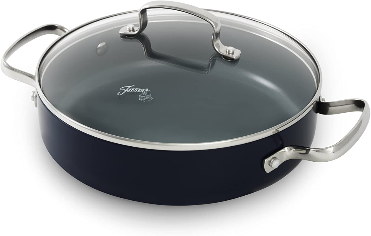 Fiesta 2 5 Quart Aluminum Non Stick Ceramic Covered Skillet Cobalt
