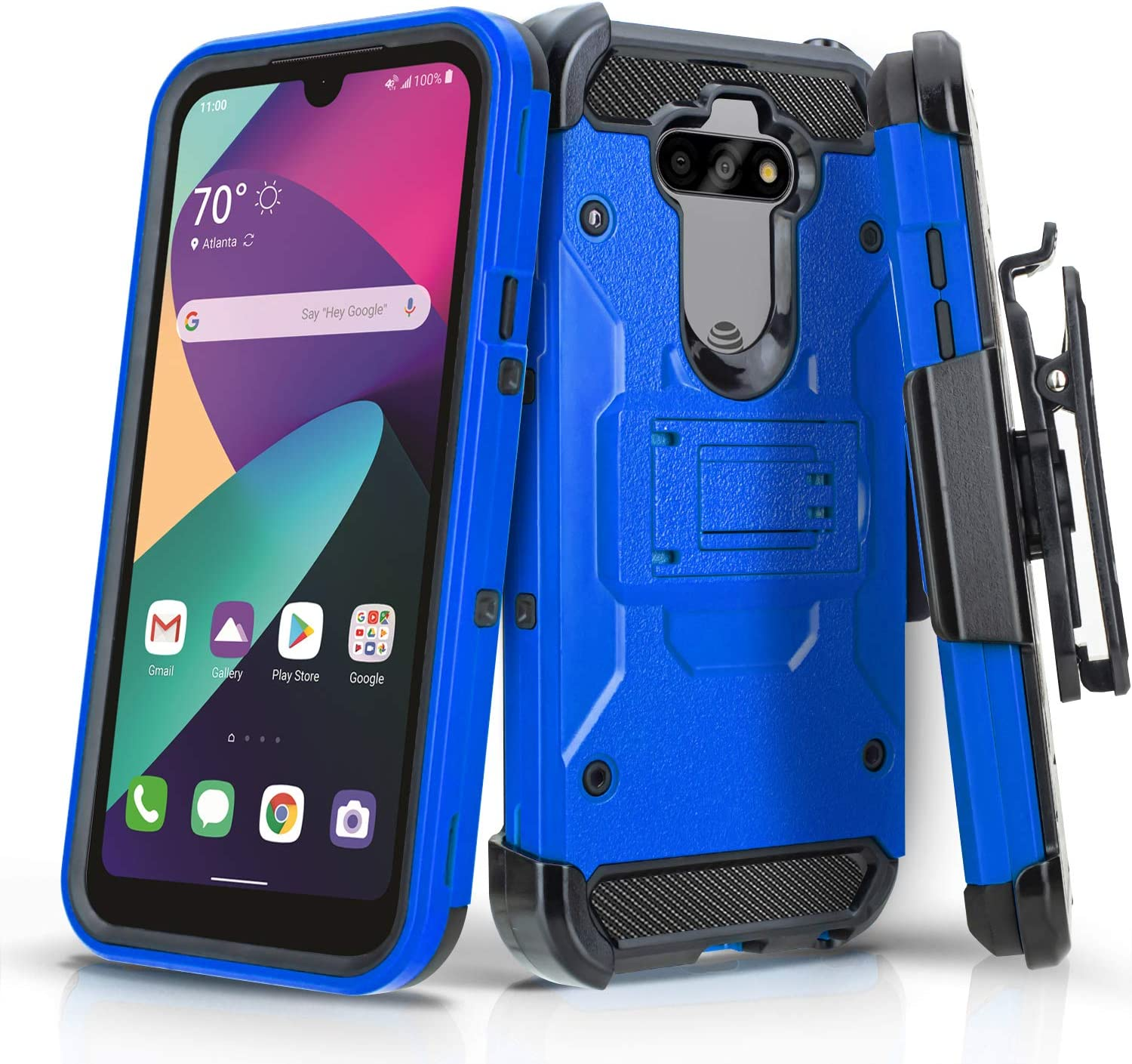 CasemartUSA Phone Case for [LG Phoenix 5 (AT&T Prepaid Phone)], [Tank Series][Blue] Heavy Duty Shockproof Cover with Built-in Kickstand & Swivel Belt Clip Holster for LG Phoenix 5 (AT&T)