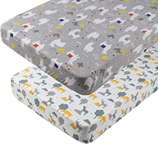 Pack n Play Playard Sheet Set 2 Pack 100% Jersey Knit Cotton Fitted Sheets Soft Breathable Portable Mini Crib Mattress Cover for Baby Boy Girl, Cute Llamas and Deers Pattern, White and Grey