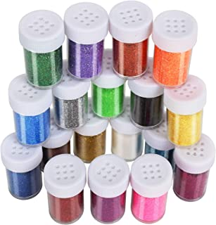 LEOBRO 18 Pack Glitter for Slime, LEOBRO Decorative Glitter, Slime Glitter, Multi Assorted Set Extra Fine Glitter Shake Jars for Slime Art Crafts Scrapbook Jewelry Making, 15g/ Bottle, Total 270g
