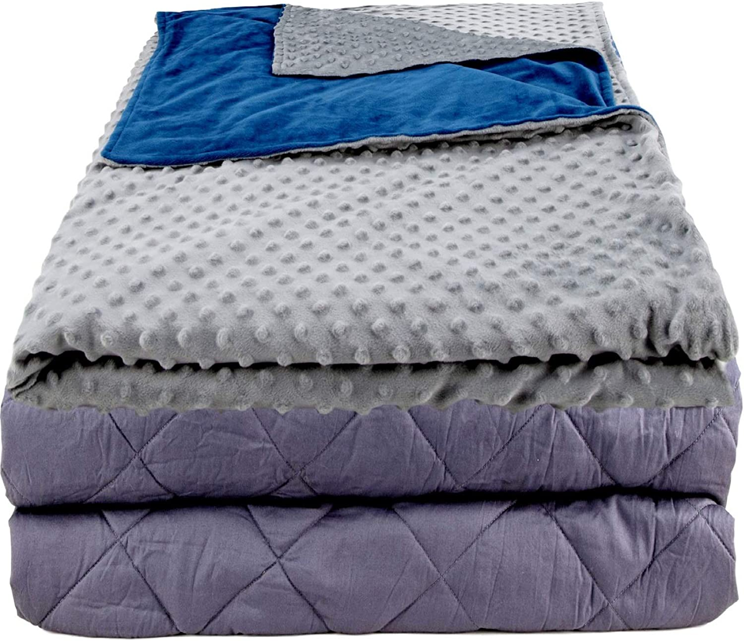 Aviano 10 lbs Weighted Blanket (Cooling Cotton)   Adult 48 x72    w Super Soft Duvet Cover (Cuddly Warm)   10lb Weighted Blanket Combo   for Adults Between 70-120 lbs   Dual-Sided color