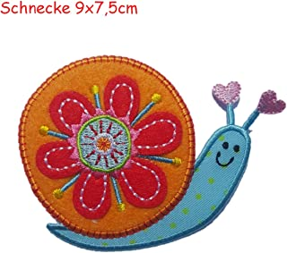 2 Iron on Patches Snail 9x7,5 and Pineapple 4.5x8 - Embroidered Fabric Appliques Set by TrickyBoo Design Zurich