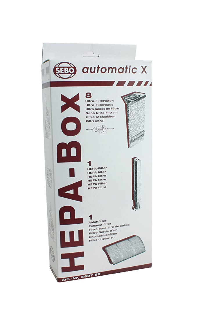 Sebo 5827ER HEPA Service Box for X Series Vacuum with 8 Ultra Bags, Exhaust Filter and HEPA Microfilter