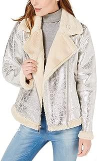 Tommy Hilfiger Womens Faux-Shearling Moto Jacket (Silver, Medium)