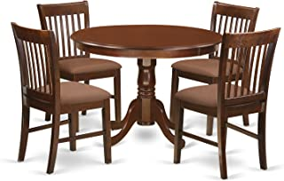 East West Furniture HLNO5-MAH-C 5Piece Hartland Set with One Kitchen Table & 4 Cushion Seat Dinette Chairs in a Beautiful Mahogany Finish