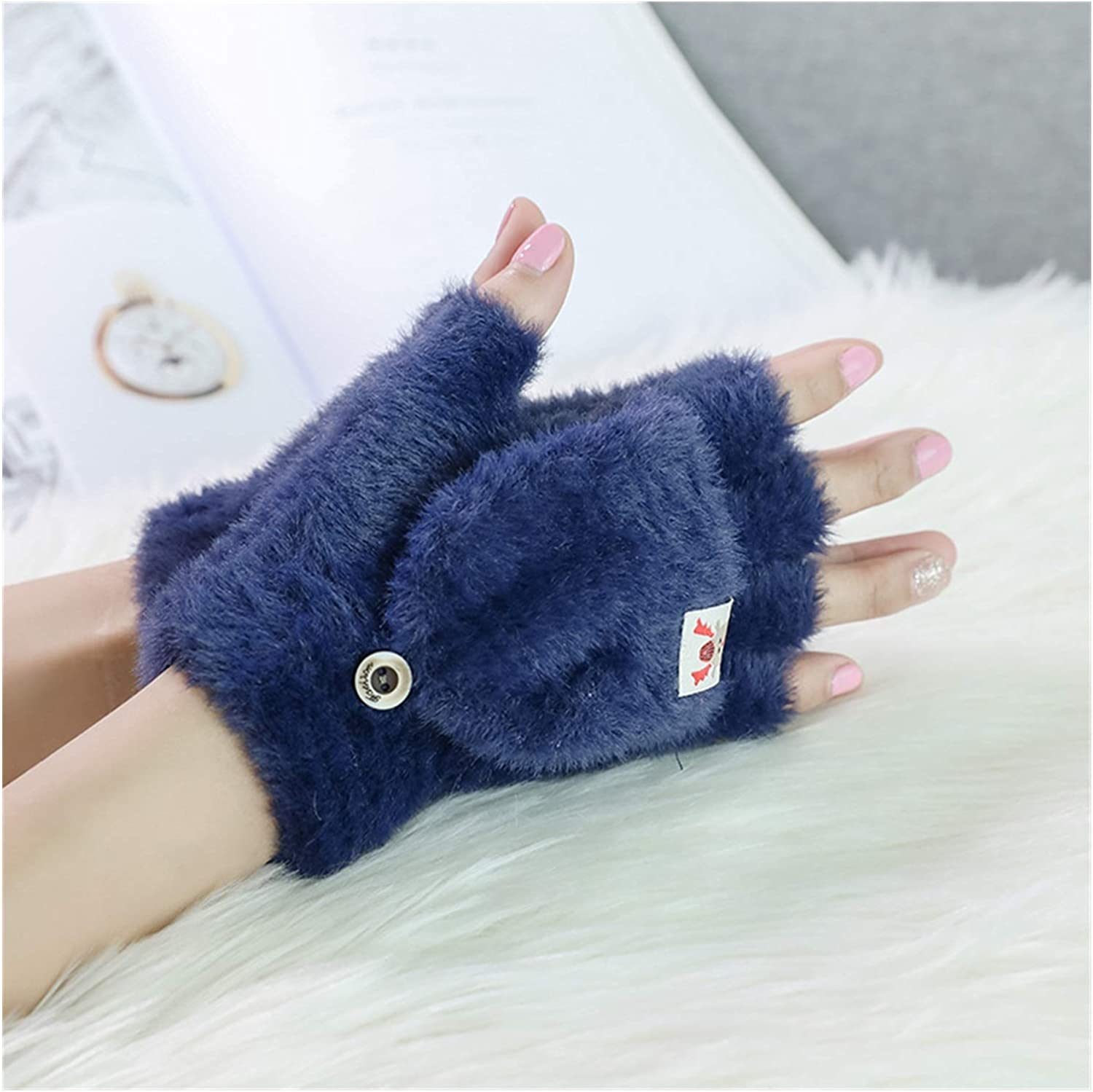 XIAOQIU Gloves Women's Winter Warm Gloves Touch Screen Gloves Cute Fingerless Gloves Knitted Fluff Outdoor Flip Cover Gloves Mittens (Color : Navy, Gloves Size : T)