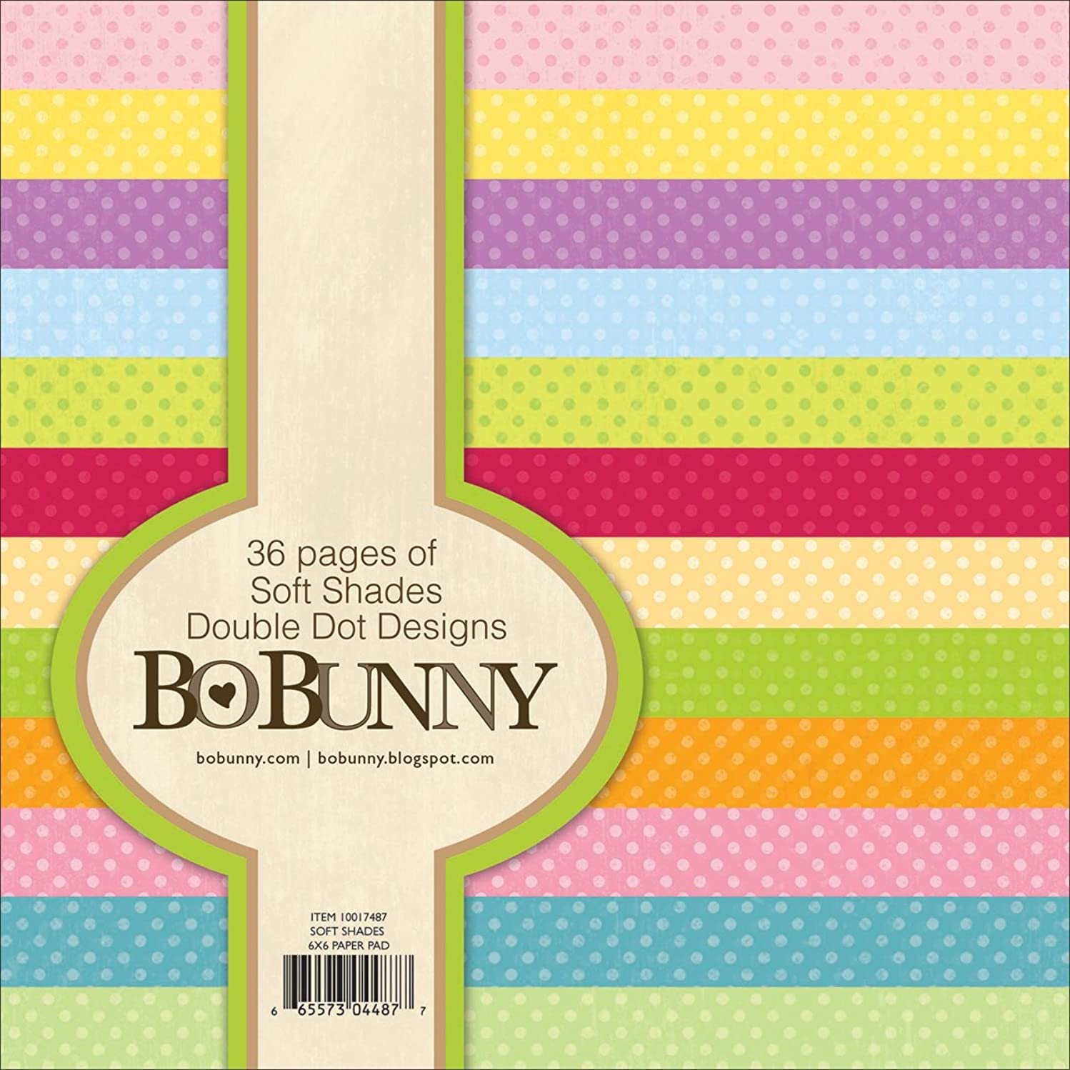 Bo Bunny DD6X6-7487 Double Dot Paper Pad, 6 by 6-Inch, Soft Shades, 36-Pack