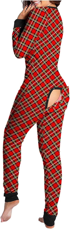 Hengshikeji Pajamas Onesie for Women Sexy Deep V-Neck Print Splicing Bodycon Bodysuit Zip Up Rompers Clubwear Sleepwear