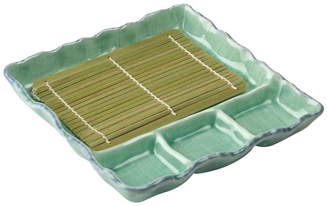 ローン遺棄された郵便物三陶 萬古焼 麺の器 仕切 麺皿 (すのこ付) 青磁 08422