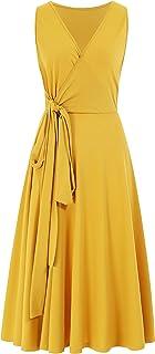 p-ping Women's Elegant Sleeveless Tie Waist Pleated Casual Swing Loose Dress