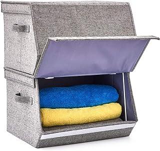 EZOWare Pack de 2 Panier de Rangement Empilable en Tissu Pliable avec Fronton Incliné, Couvercle et Poignées, Boîte de Ran...
