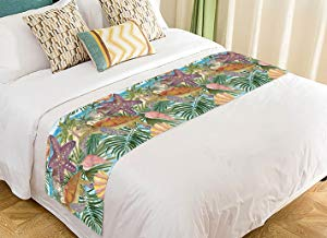 Custom Sea Turtle Seashell Starfish Tropical Palm Tree Leaves Bed Runner Bedding Scarf Size 20x95 inches