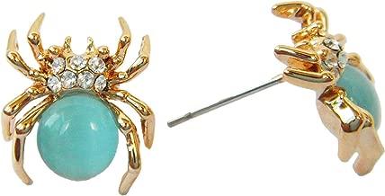 Navachi 18k Gold Plated Blue Created-Opal Crystal Spider Az2402s Stud Earrings