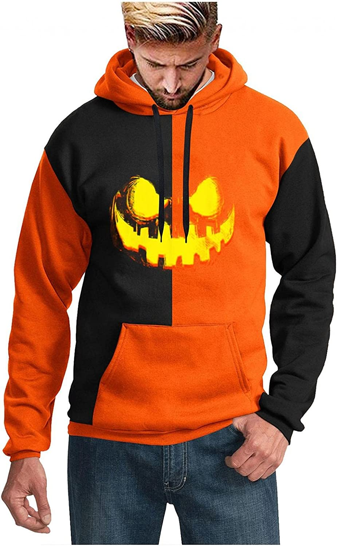 XUNFUN Halloween Graphic Hoodies for Men Funny Jack O Lantern Pumpkin Face Print Slouchy Basic Pullover Sweatshirts Tops
