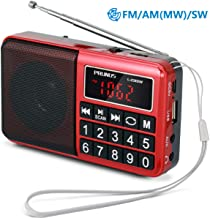 PRUNUS Portable Radio SW/FM/AM(MW)/MP3/USB/SD/TF Rechargeable with Neodymium Speaker. Large Button and Large Display. Stores Stations Automatically. (NO Manual Memory/Delete Stations Function)