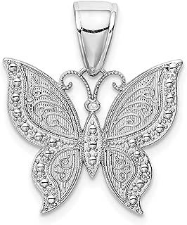 Lex & Lu 14k White Gold Butterfly Pendant