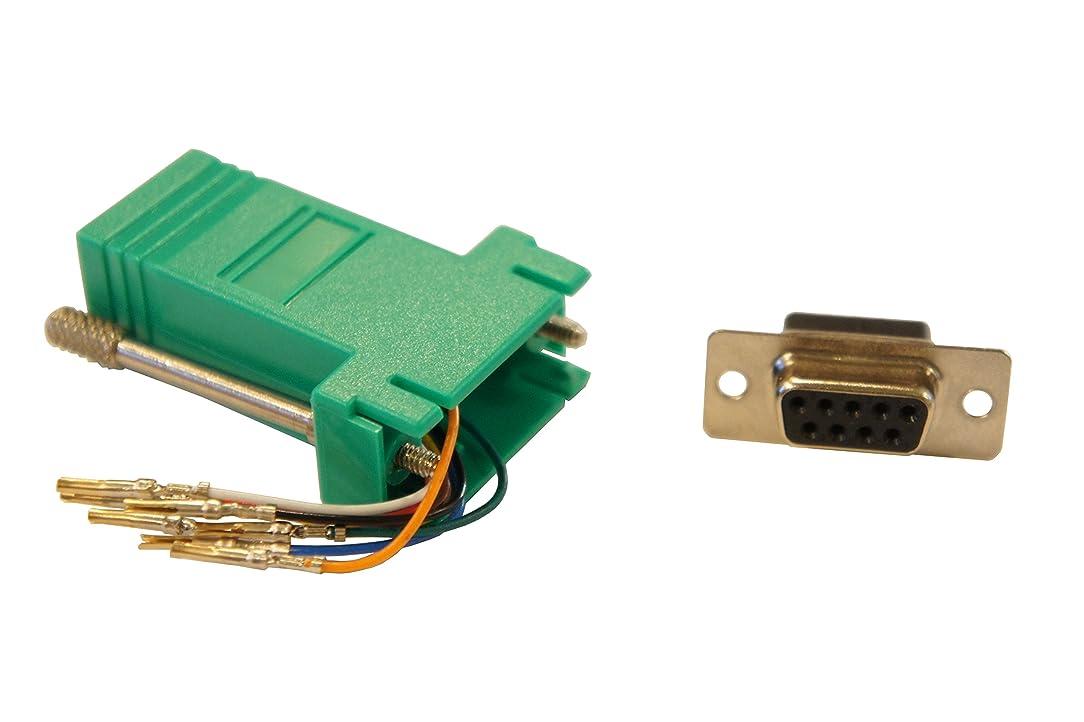 Green DSub 9 Pin DB9 Female to RJ45 8p8c Female Modular Adapter Connector Jack Serial