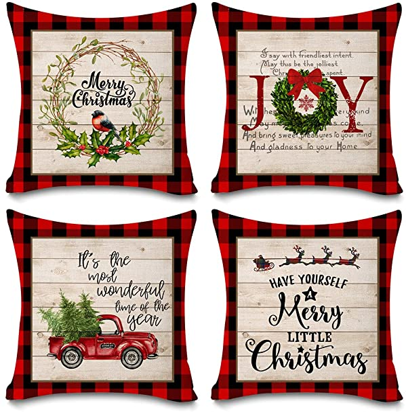 Faromily Buffalo Plaid Christmas Pillow Covers Farmhouse Decorative Cotton Linen Throw Pillow Cases 18 X 18 Inch Set Of 4 Christmas Decoration