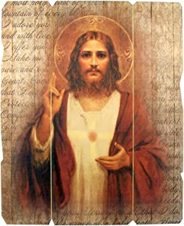 Laser Cut Wood Sacred Heart of Jesus Icon Wall Plaque, 9 1/4 Inch